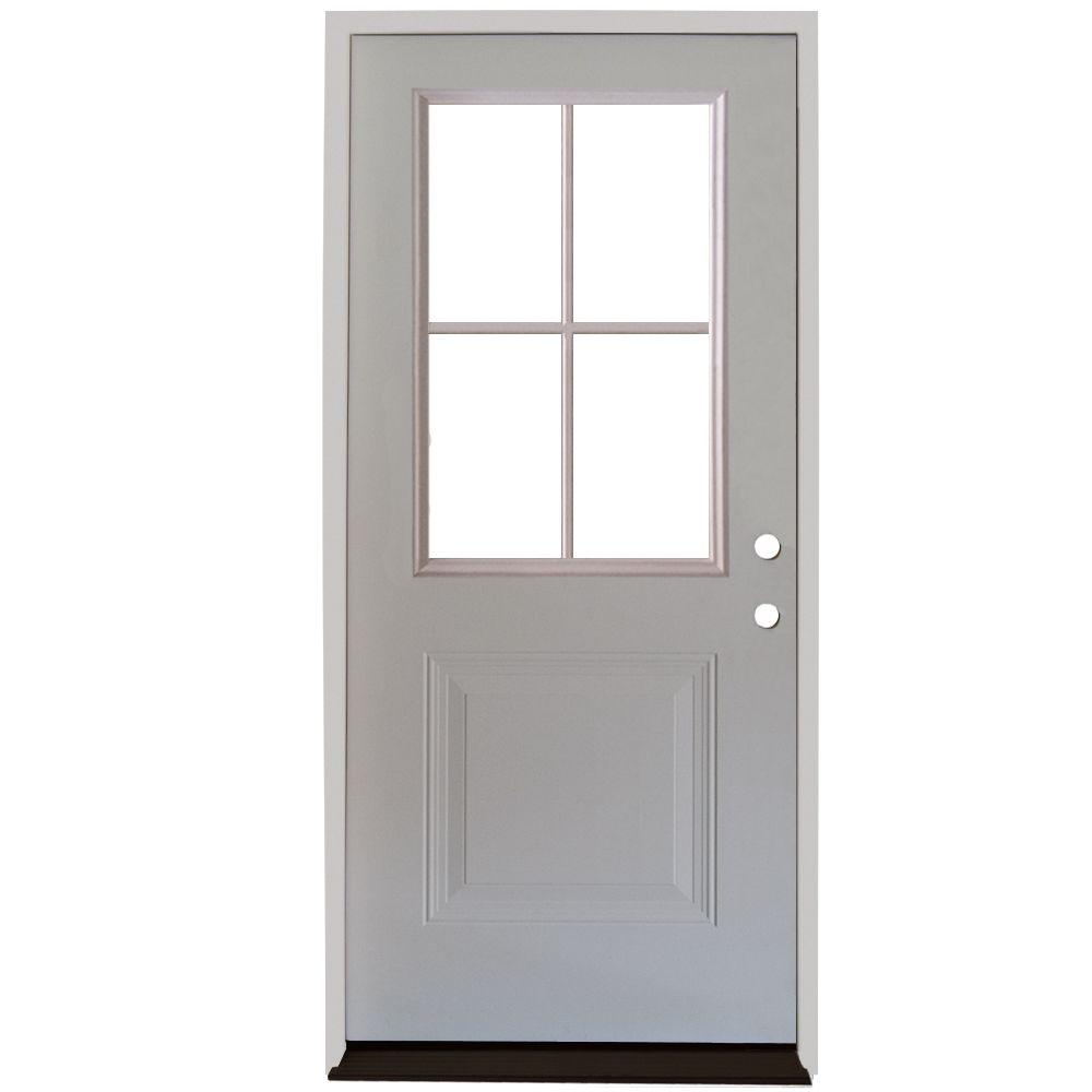 Steves Sons 32 In X 80 In Premium 4 Lite 1 Panel Primed White Steel Prehung Front Door With 4 In Wall S21h 4lp 32 4ri With Images Exterior Doors Steel Entry Doors Steel Front Door