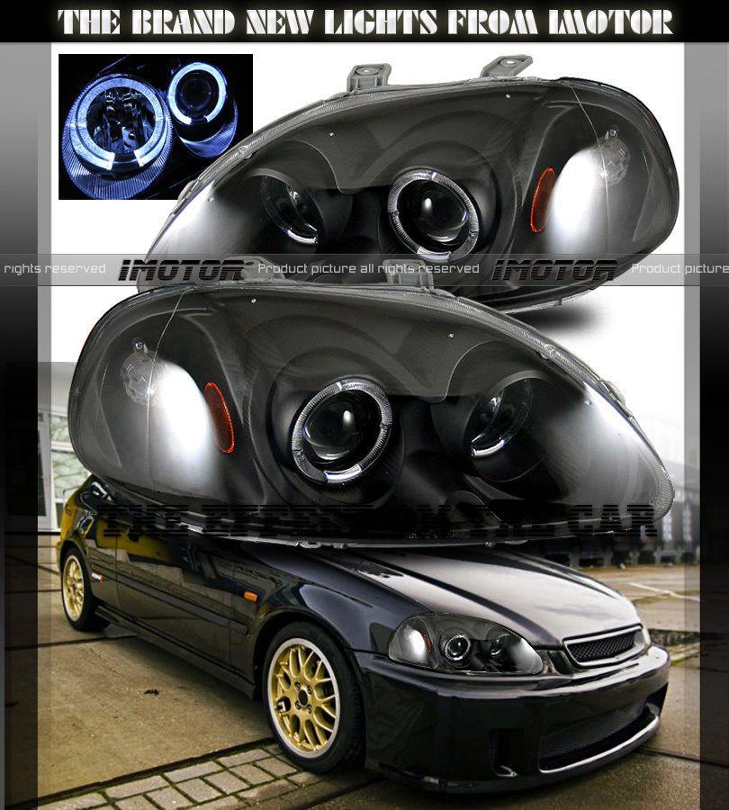 96 98 Honda Civic Dual Twin Angel Eye Halo Ring Projector Black Headlights Lamp Honda Civic Honda Civic Rims Honda Civic Coupe