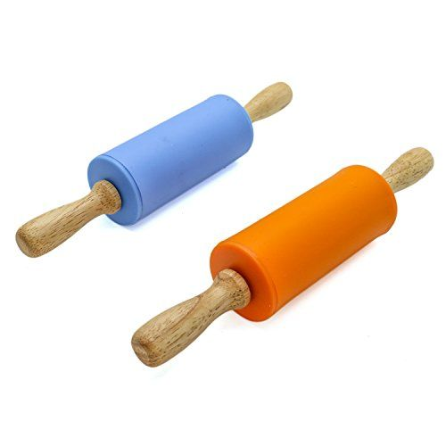 12 inch, Red Remeel Silicone Rolling Pin Non-stick Surface Wooden Handle