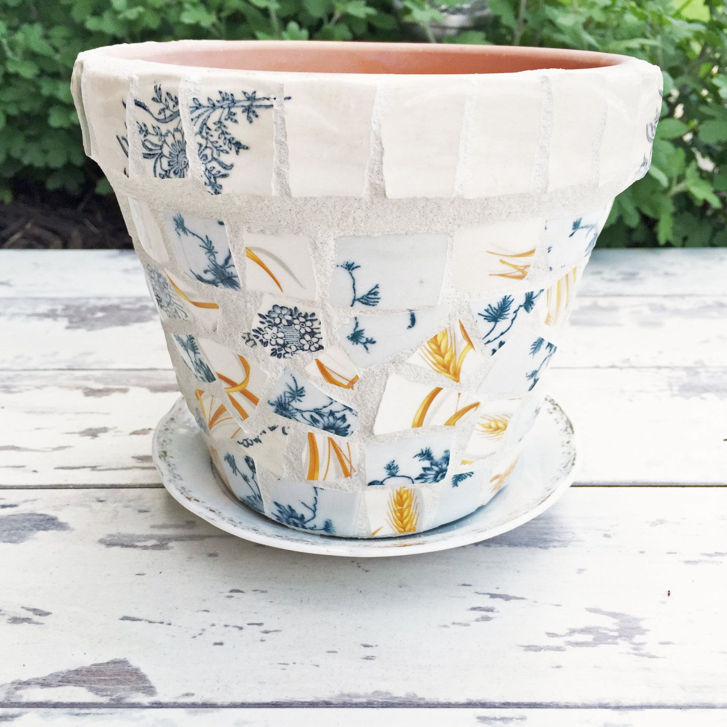 Broken China Mosaic Flower Pot  Wheat And Blue Vintage
