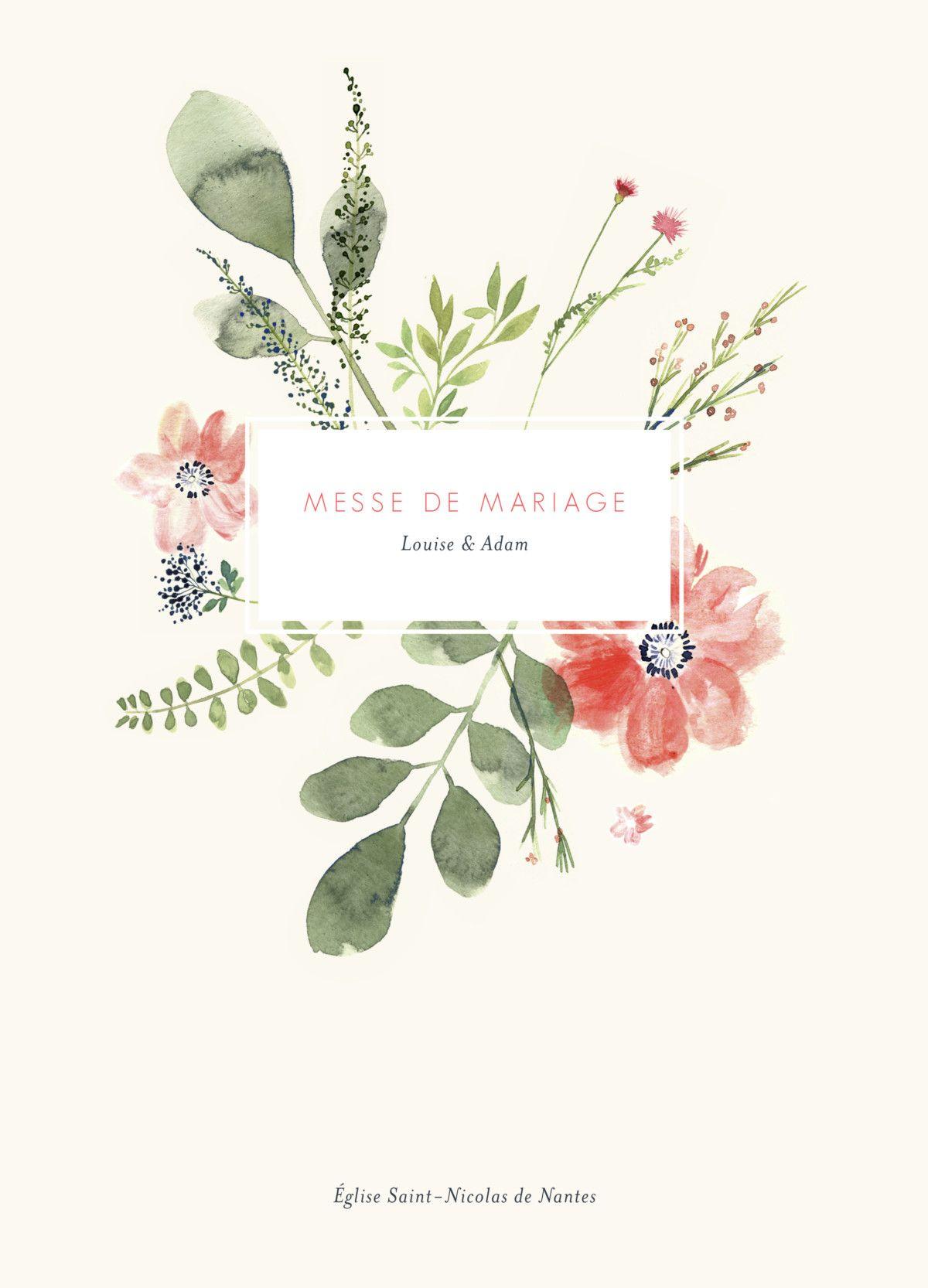 Livret De Messe Mariage Fleurs Aquarelle De L Atelier Rosemood