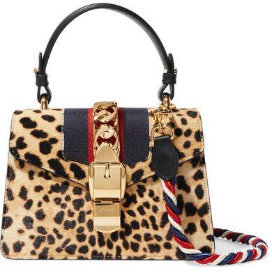c6ea9f221c07 Gucci - Sylvie Mini Leather-trimmed Calf Hair Shoulder Bag - Leopard print