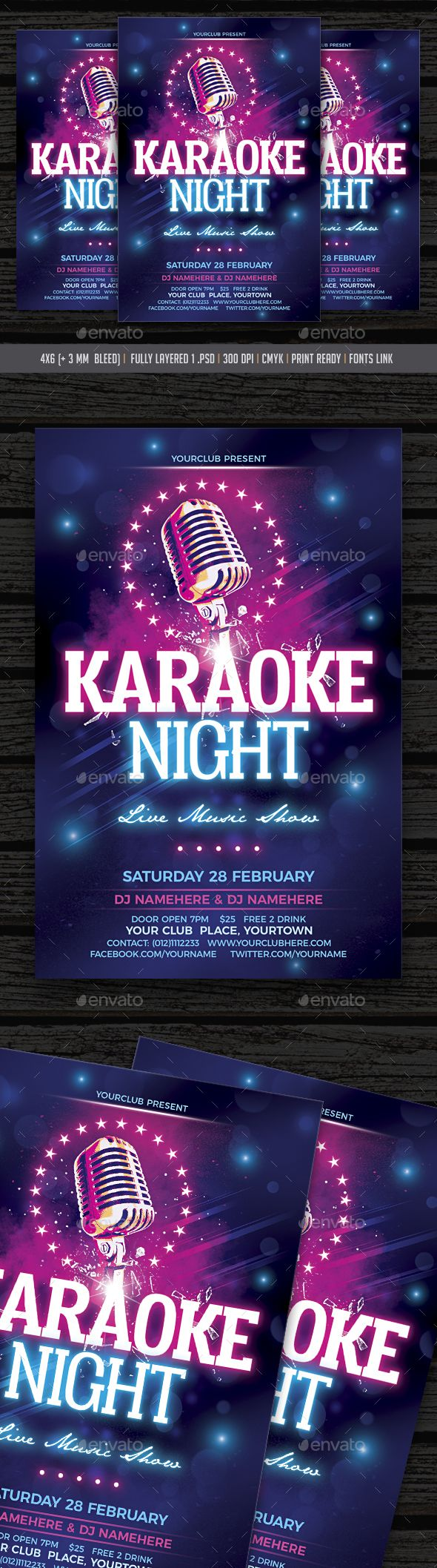 Karaoke Night  Karaoke Flyer Template And Template