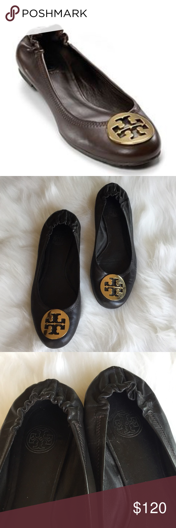 c81e9bbc1 Tory Burch Reva Ballet Flat with Elastic Back A rich combination of metal  and leather, the Tory Burch Reva is an instant wardrobe classic.