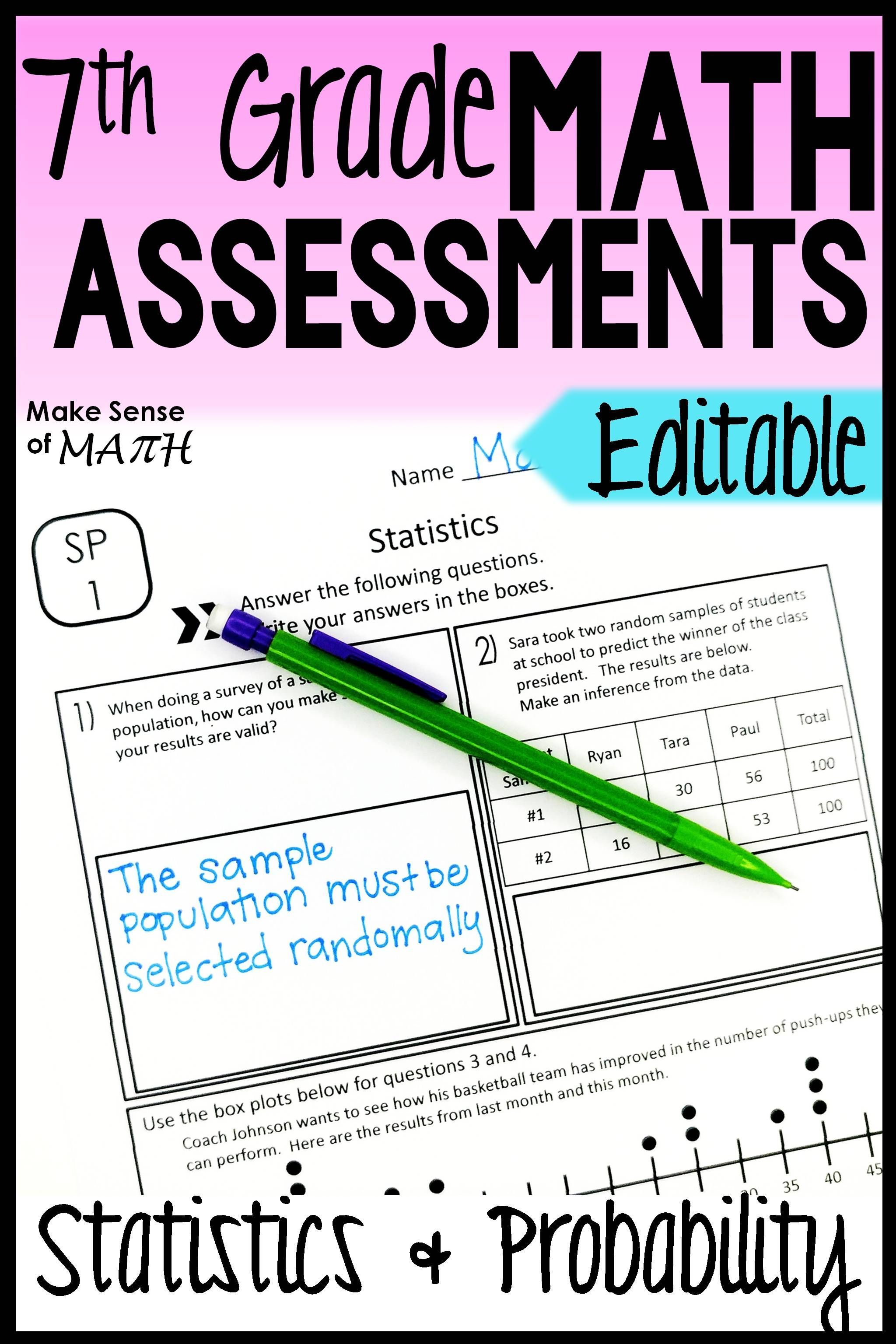 Statistics And Probability Assessments 7th Grade Math