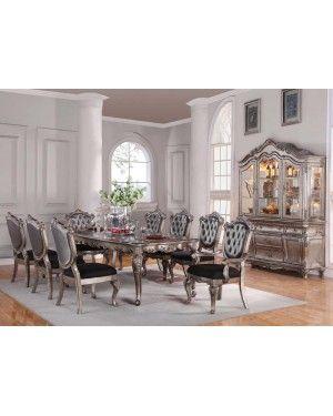Acme 60540 Chantelle Antique Platinum Formal Dining Room Set With Unique Antique Formal Dining Room Sets Decorating Design