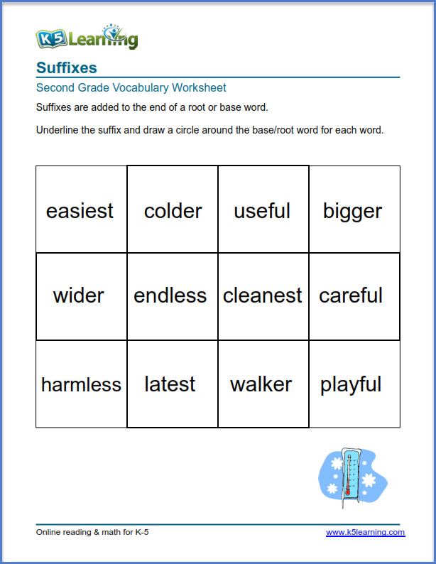 suffixes worksheets | K5 Learning in 2020 | Suffixes ...