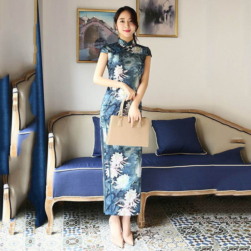 qipao blue chinese dresses            https://www.ichinesedress.com/