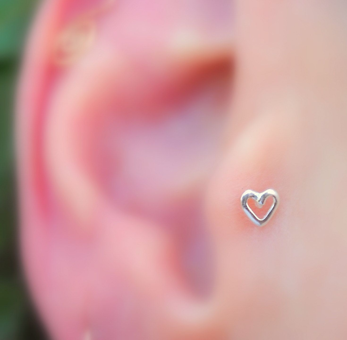 Tragus Earring  Nose Ring  Cartilage Earring  Sterling Silver Valentine Heart  Tragus Stud
