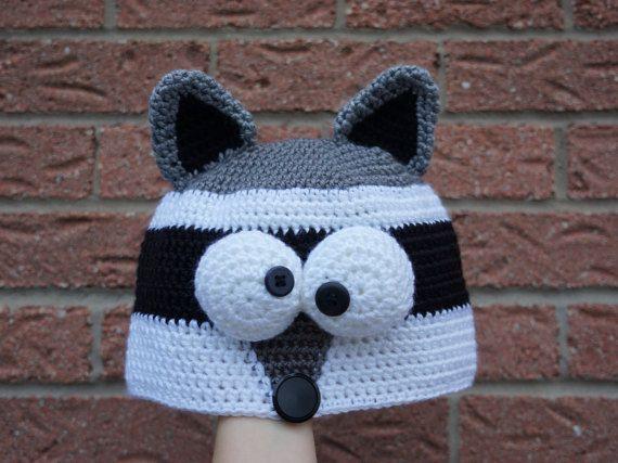 Crochet Raccoon hat, Crochet animal hat beanie, Adult size, Cute ...