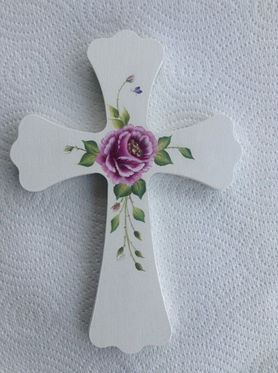 Pink Roses Wood Cross - Communion - Religious - Crucifix - Hand painted OOAK - Baptism via Etsy
