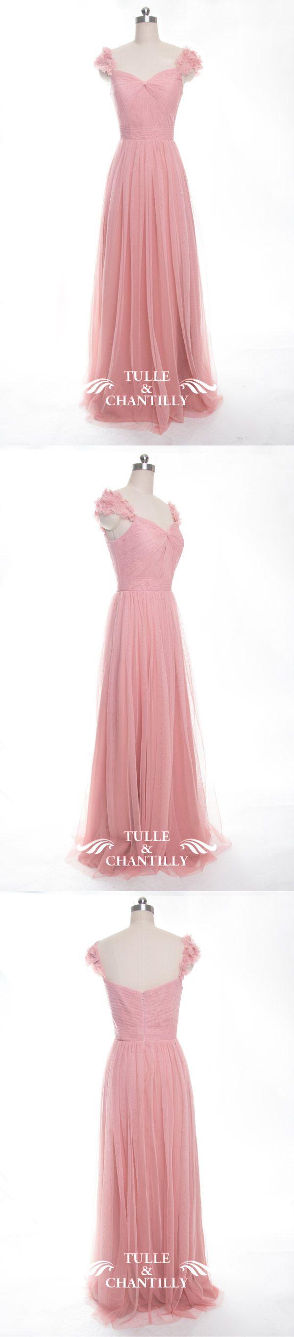 Elegant Long Bridesmaid Dress with Floral Straps TBQP327   Pinterest