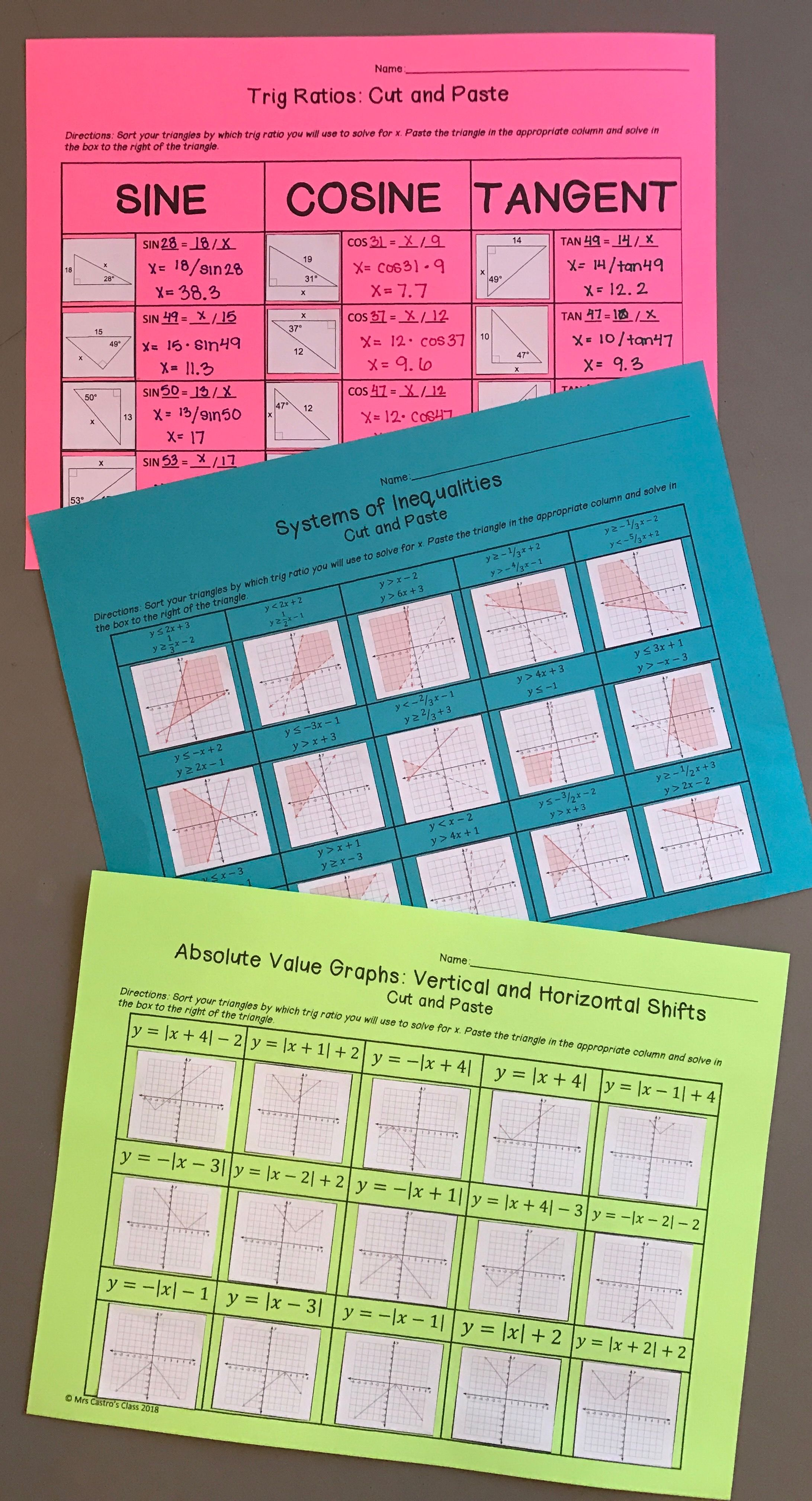 Trig Ratios: Cut and Paste Activity | High School Math Ideas ...