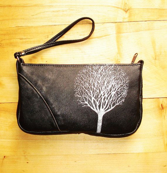 Black Leather Wristlet with Single Tree by bonspielcreation, $78.00