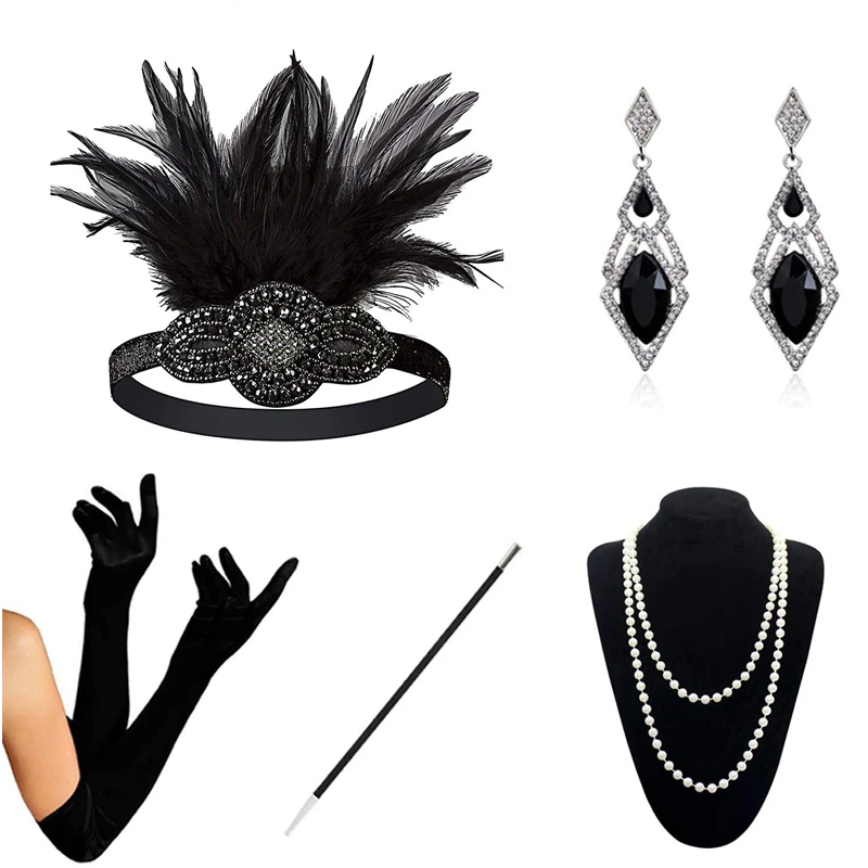 Black 1920s Accessories Set Great Gatsby Flapper Costume For Women Hea Sainaluv Flapper Costume 1920s Accessories Costumes For Women