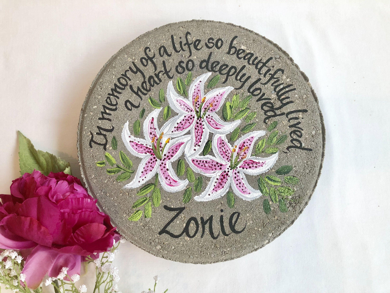 Memorial stargazor lily personalized garden stone apple