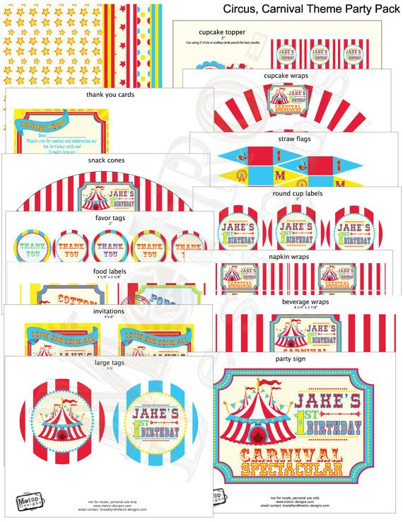 DIY Carnival Decorations \ Invitations c i r c u s - circus party invitation