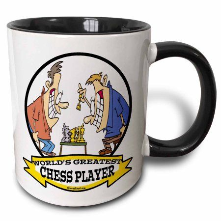 3dRose Funny Worlds Greatest Chess Player Cartoon, Two Tone Black Mug, 11oz