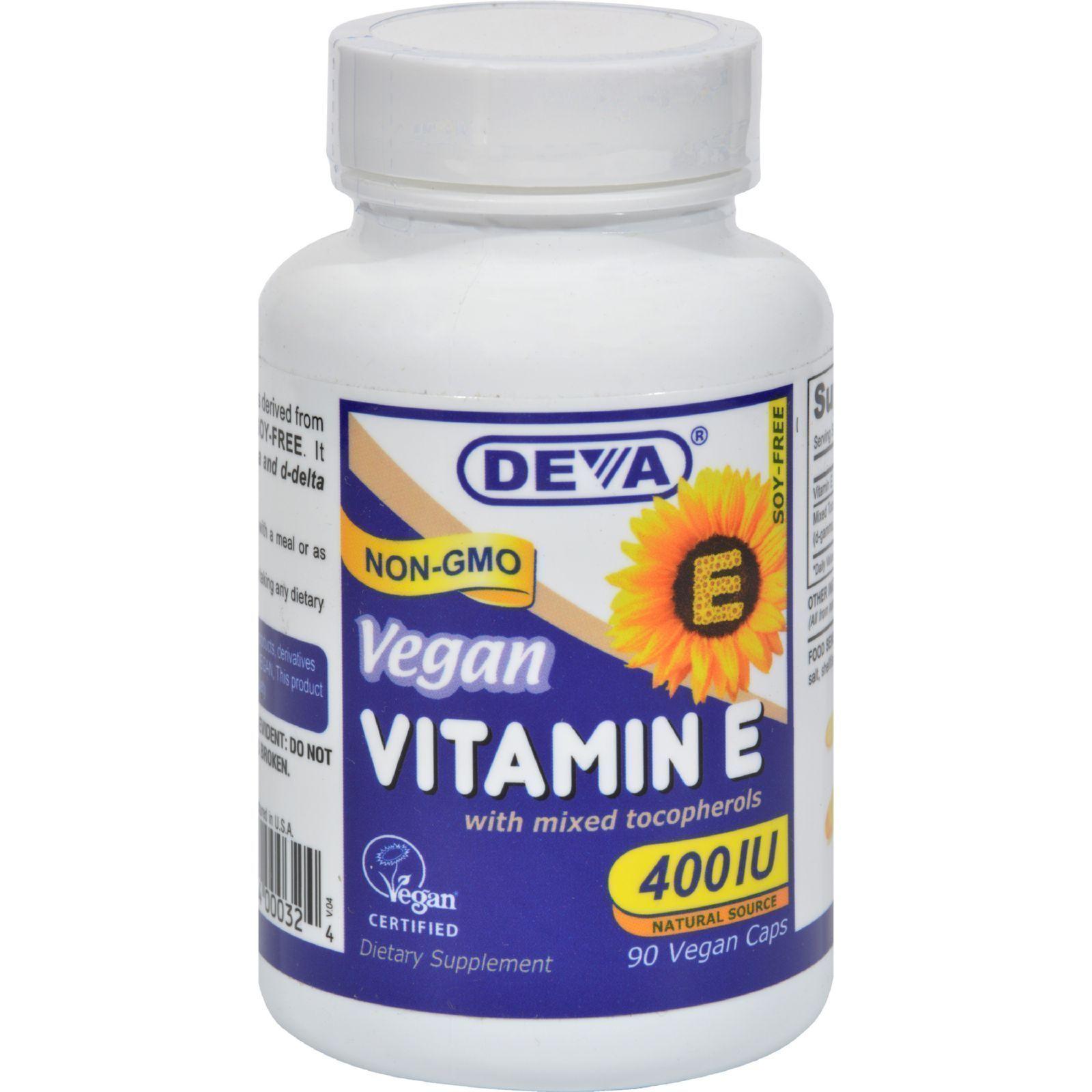Deva vegan vitamin e with mixed tocopherols 400 iu 90