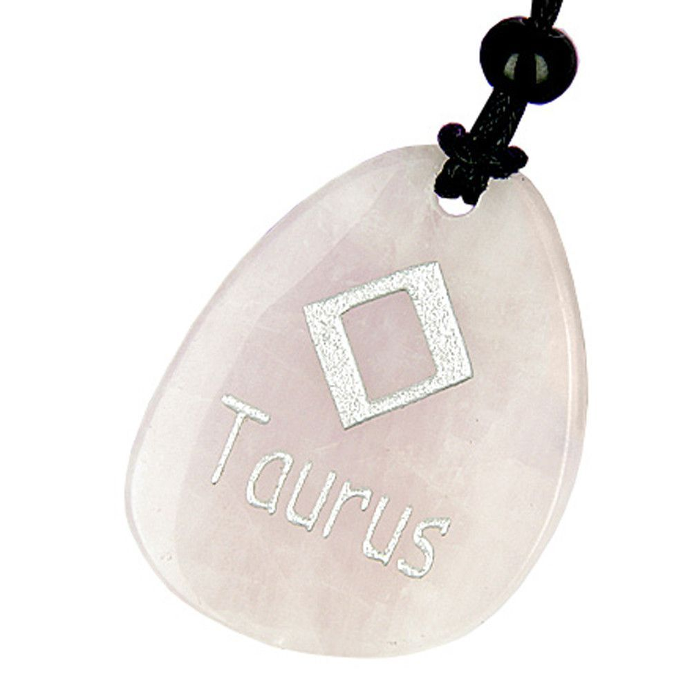 A rose quartz taurus lucky astrological rune pendant necklace