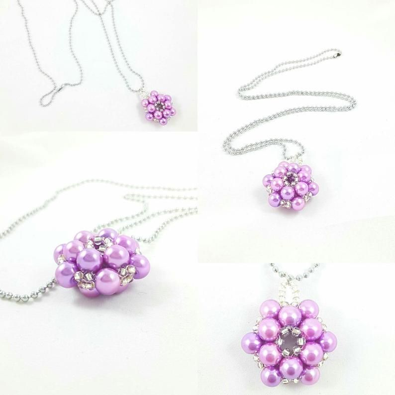 Lilac Flower Pendant Weaving Beads Necklace Long Silver Chain Lariat Necklace Purple Floral Pendant Necklace Beaded Pearl Rope Necklace How To Make Beads Floral Pendant Flower Pendant