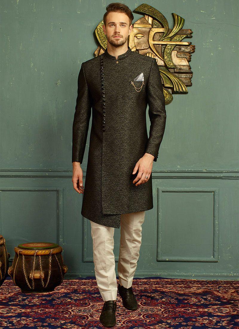 028f668131 Buy Black Jacquard Angrakha Sherwani online, SKU Code: SHMAR6075. This  Green color angrakha sherwani for Men comes with Jacquard Art Silk. Shop  Now!