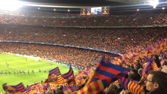 96,290 fans packed into Barcelona's Camp Nou to see a dazzling display of football with the home team wining 6-1 after a 4-0 drubbing in Paris last month. FC Barcelona win 6-5 on aggregate to make the quarter-finals. 09.03.17
