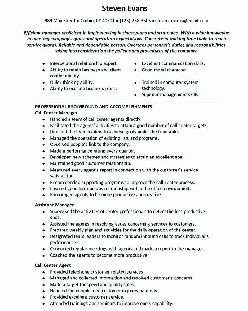 20 Call Center Resume Description in 2020 Customer