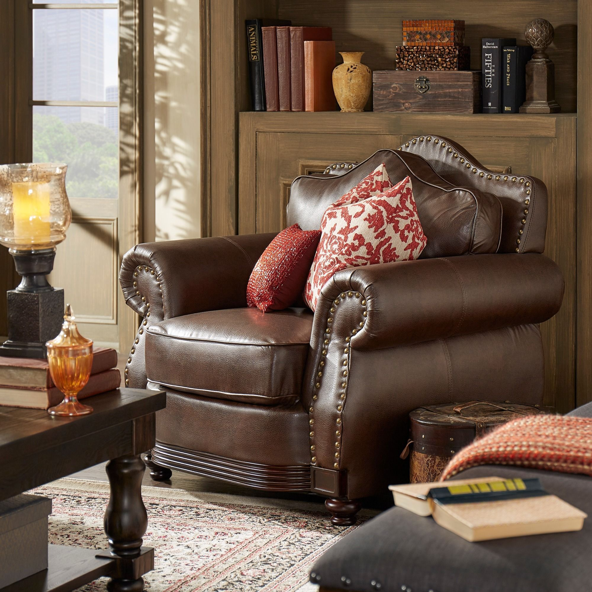 Myles Traditional Chocolate Bonded Leather Rolled Arm Chair by iNSPIRE Q  Classic by iNSPIRE Q
