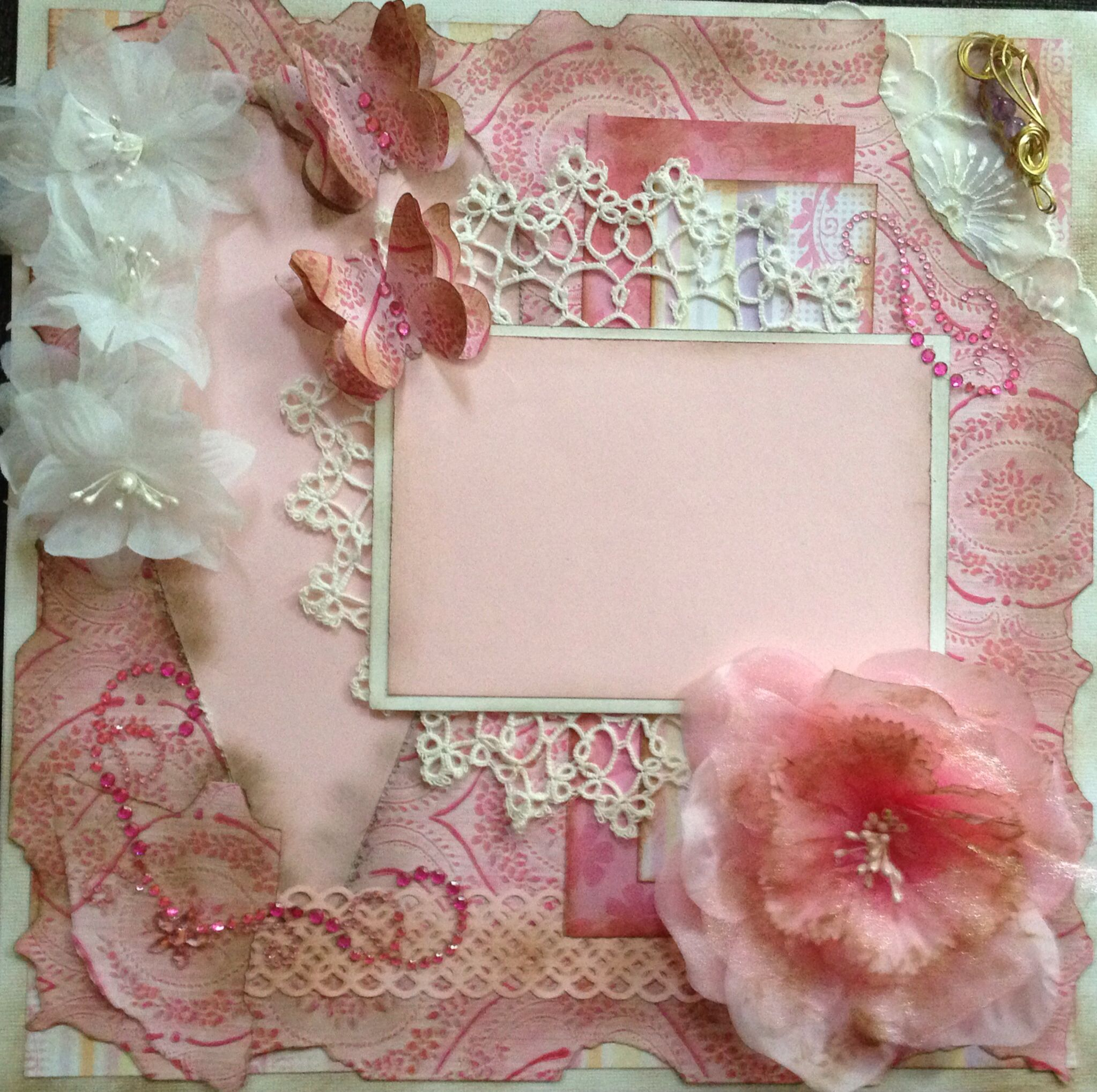 Pre-made Shabby Chic Scrapbook Layout (With images ...