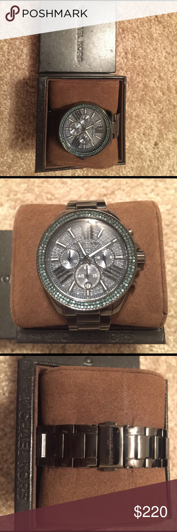 Michael Kors unisex watch I have a nice Michael Kors watch that's a unisex the watch is very nice and in mint condition it has blue diamond cuts works perfectly absolutely nothing wrong with it comes with original box Michael Kors Accessories Watches
