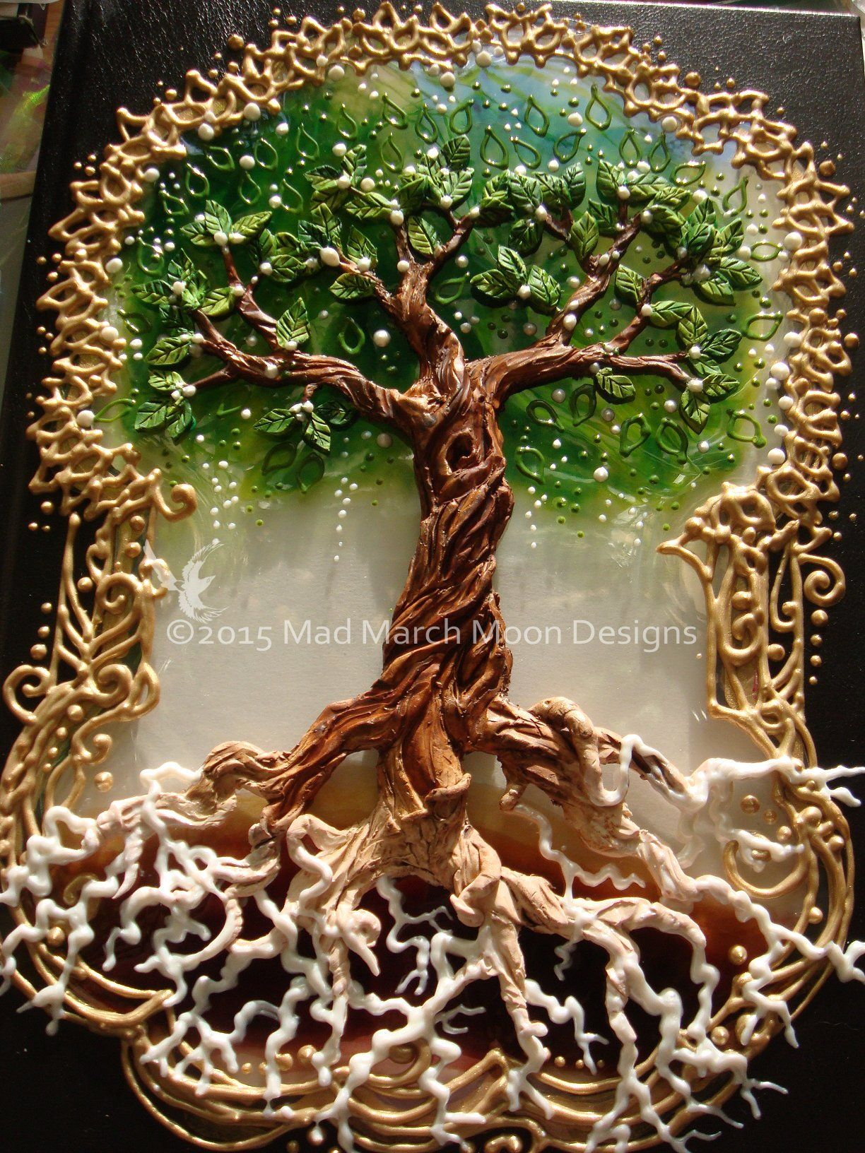 Transparent window Tree of life A4 journal, created in polymer clay ...