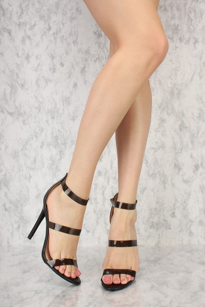 Blush Triple Clear Straps Open Toe Single Sole High Heels Faux Leather 8Bwnok9Q