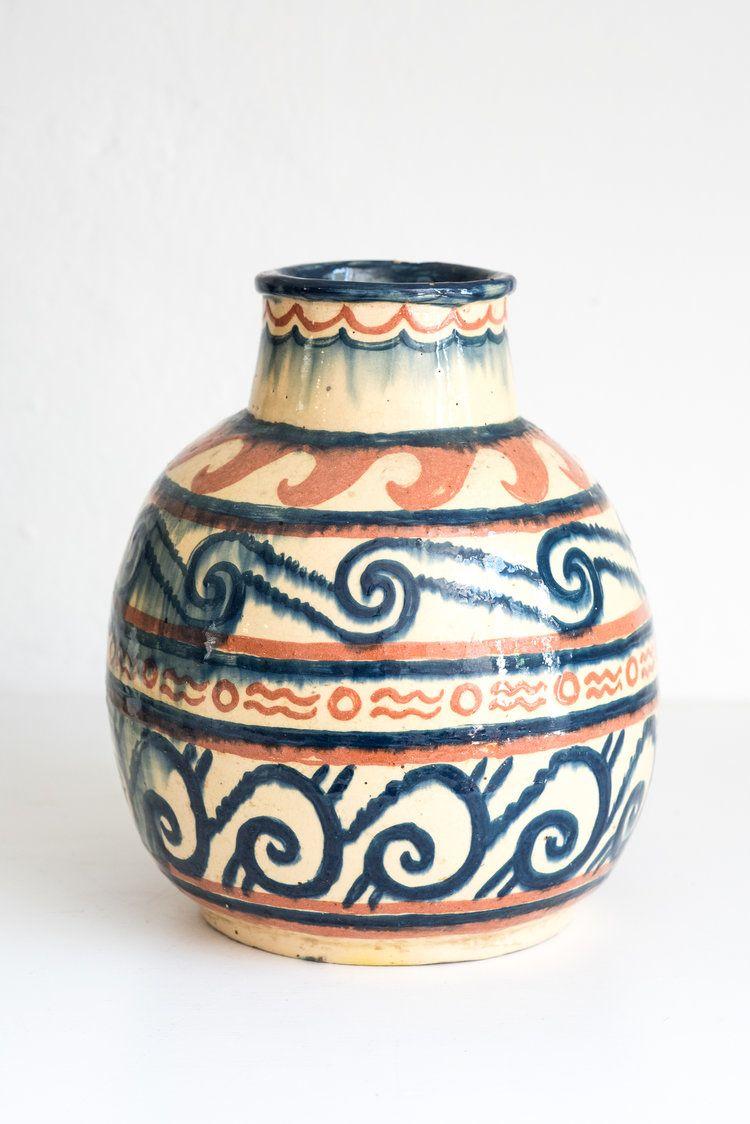 Vintage hull house 1930s vase orange blue and cream ceramic vintage hull house 1930s vase orange blue and cream ceramic vase with geometric wave reviewsmspy