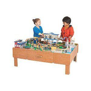 Pete\'s train table (Imaginarium City Central). He looooooooves it ...
