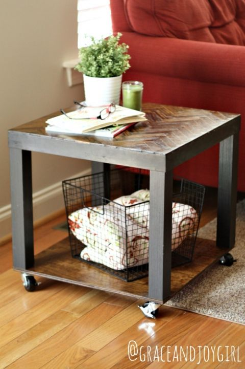 Lack Side Table Hack Herringbone Top Wheels Canisters Ikea Lack Hack, Ikea  Lack Table,