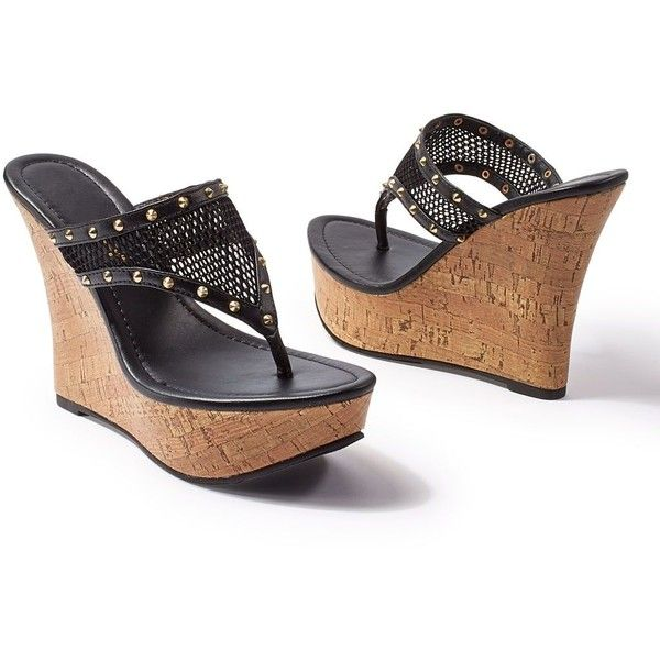 Dark brown platform high heel studded wedge sandals / shoes rTOcRgww