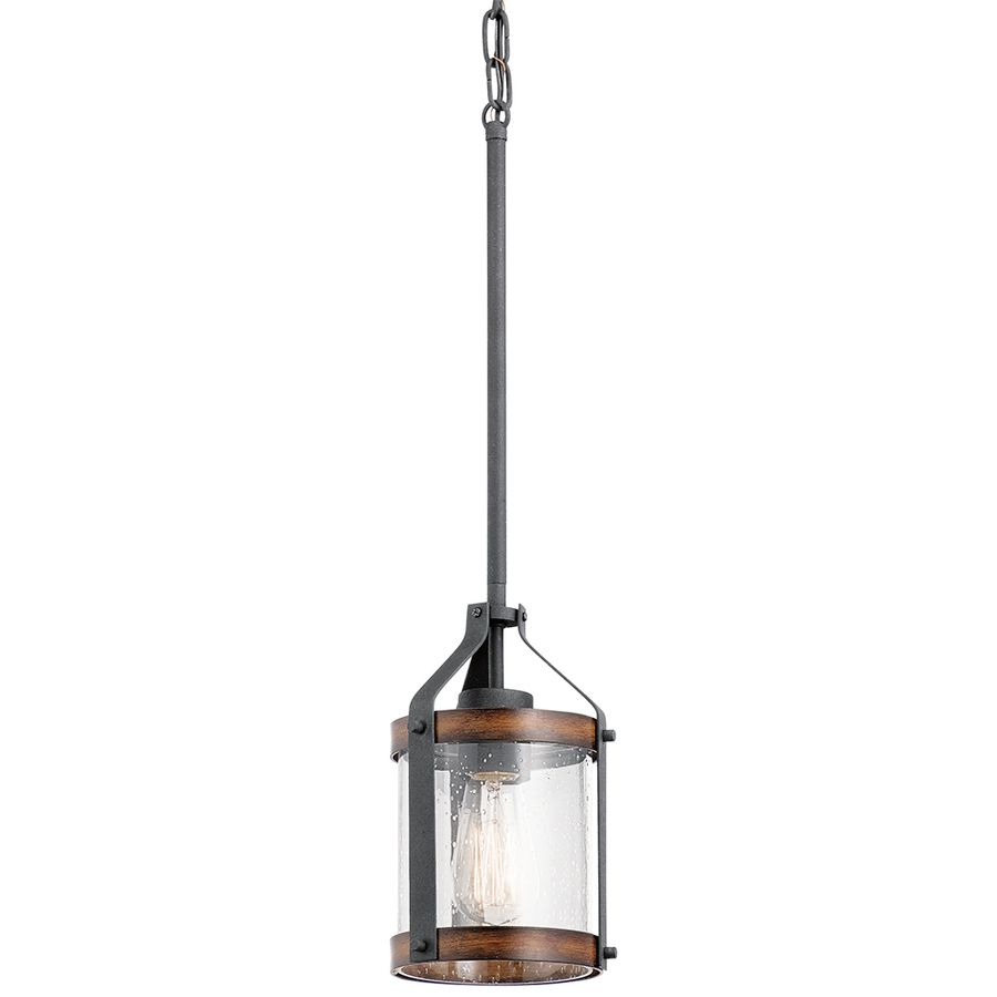 Kichler Lighting Barrington 5.5-in Distressed Black and Wood Rustic ...