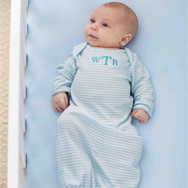 Blue Sleep Gown For Baby - 0-6 Months (Personalization Available ...