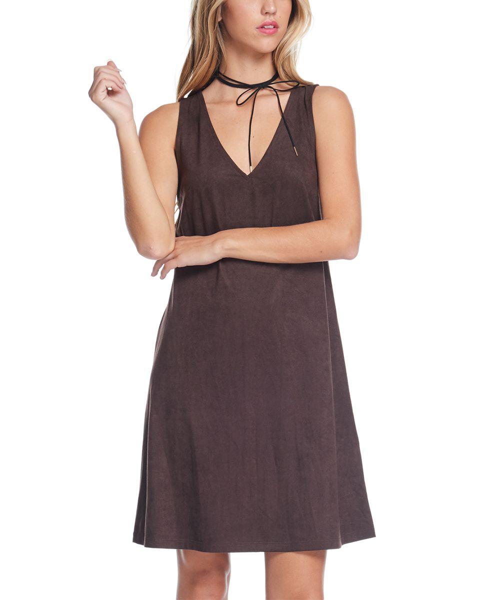 Brown V-Neck Dress