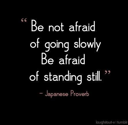 Be not afraid of going slowly, Be afraid of standing still ...