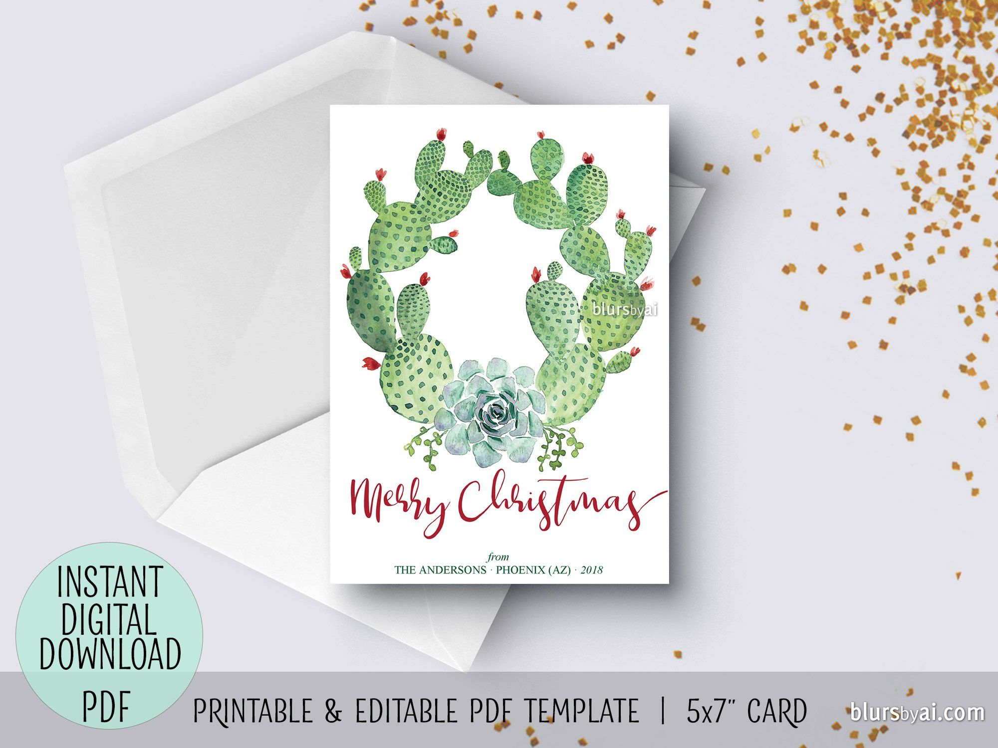 Editable Pdf Christmas Card Template Cacti And Succulents Watercolor Wreath Watercolor Christmas Cards Christmas Card Template Christmas Cards Free