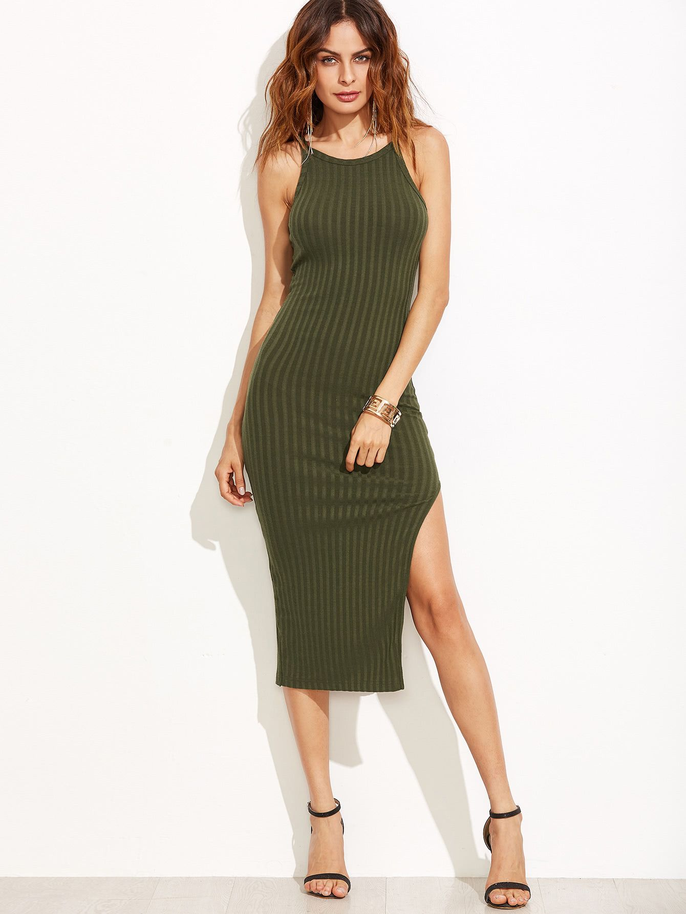 8634cdae4b SheIn Olive Green Side Slit Ribbed Cami Dress | The Style Perk ...