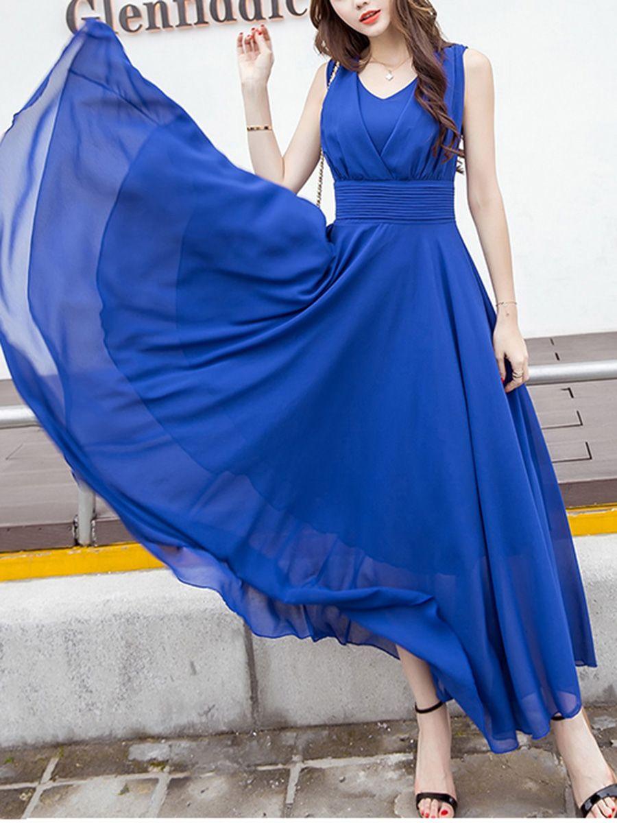 f6bbf28733 Summer V-Neck Plain Chiffon Sleeveless Maxi Dress in 2019 | Cheer ...