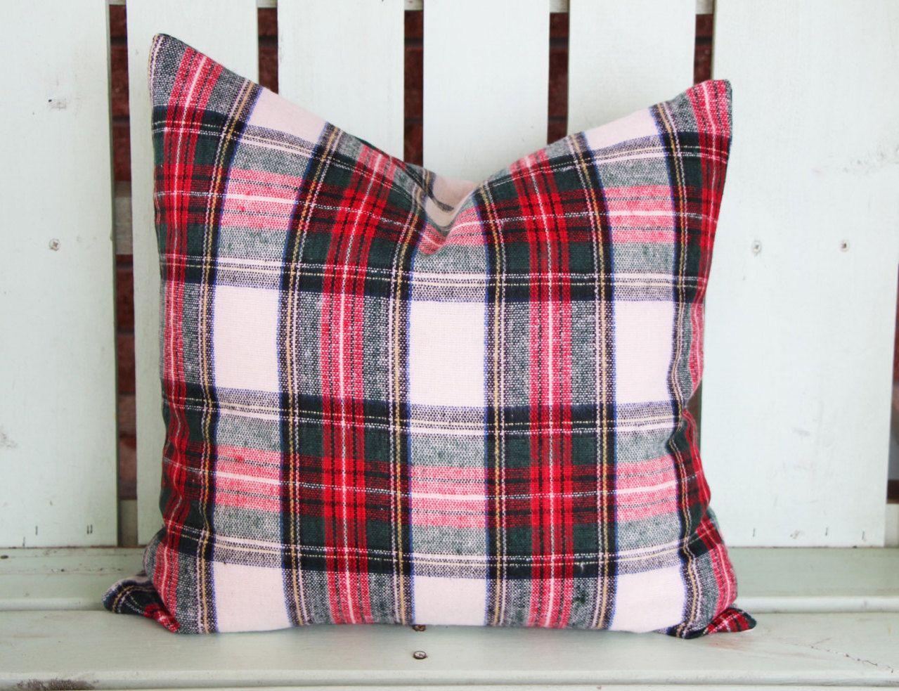 Plaid Christmas Pillows.New 18x18 Plaid Christmas Pillow Holiday Gift Decorative