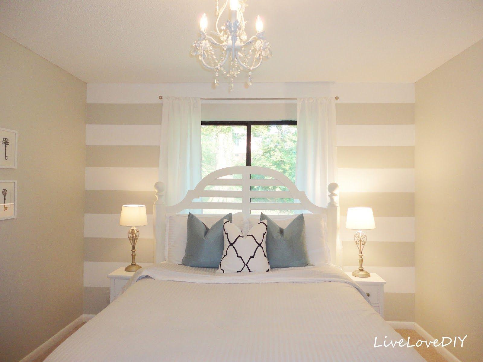 DIY Striped Wall Guest Bedroom