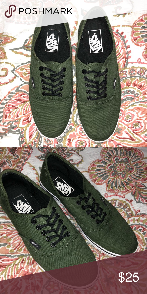 cd586efd563943 Army green vans authentic lo pro Gently worn (twice) Size 7.5 Army green  vans
