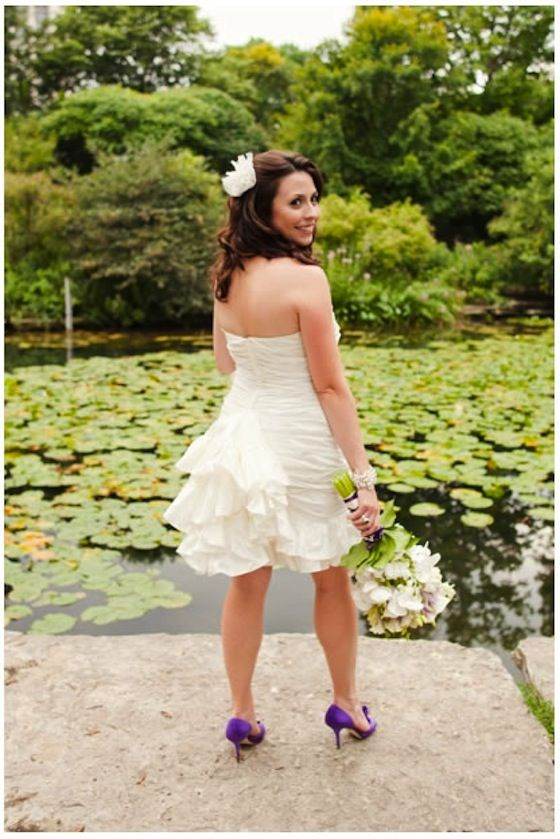 A Short Wedding Dress Really Shows Off This Brides Purple Shoes