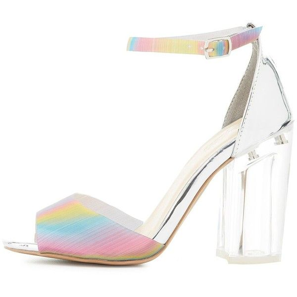 fdc72cf5a8e Charlotte Russe Holographic   Metallic Two-Piece Sandals ( 27) ❤ liked on  Polyvore