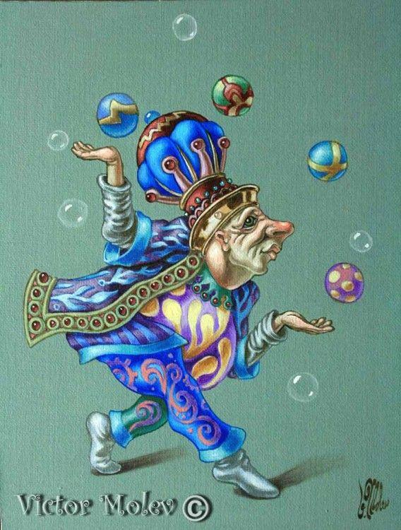 Juggler (Painting),  20x25 cm par Victor M. Molev Juggler.2009. 20x25 cm/ Oil on Canvas For sale